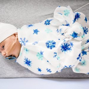 Safe to use blue winter wonderland swaddle for baby
