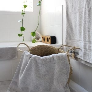 Organic cotton bath towels in contemporary stone