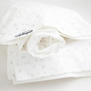 Organic cot sheet set white grey