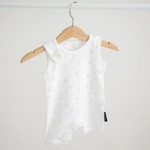 Whollygrail organic cotton baby romper white and grey