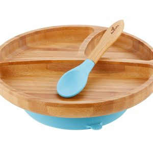 Avanchy blue organic bamboo toddler plate plus spoon with suction base