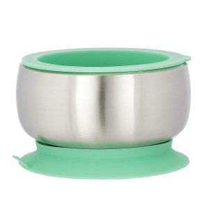 Green eco-friendly stainless steel suction baby bowl plus airtight lid