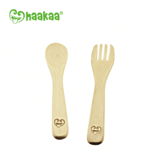 Safe Haakaa bamboo spoon and fork set