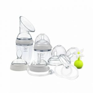 Toxin free generation 3 premium silicone breast pump and baby bottle pack