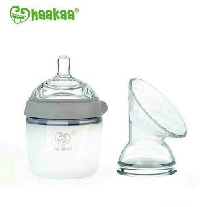 Chemical free Haakaa grey 160ml generation 3 baby bottle with pump flange