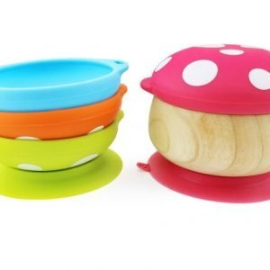 Eco-friendly Haakaa wooden mushroom bowl with suction base