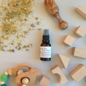 All natural spray made with organic chamomile flowers for a calming effect