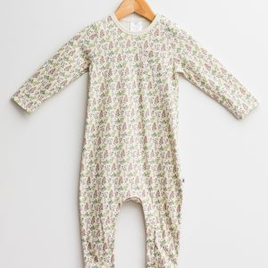 organic cotton baby clothes onesie leaves
