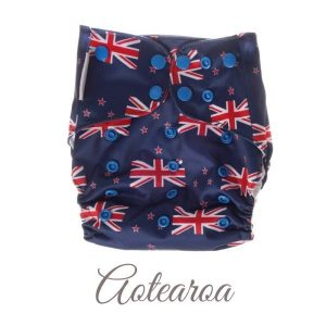 Chuckles reusable cloth pocket AI2 nappy kiwiana blue NZ flag