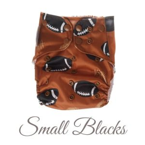 Chuckles reusable cloth pocket AI2 nappy kiwiana brown black rugby ball