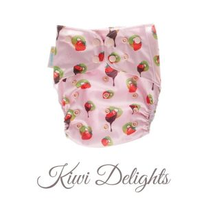 Chuckles reusable cloth pocket AI2 nappy kiwiana pink lollies