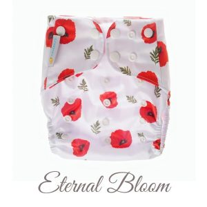 Chuckles reusable cloth pocket AI2 nappy kiwiana white red poppy