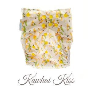 Chuckles reusable cloth pocket AI2 nappy kiwiana yellow flowers kowhai