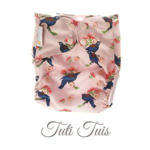 Chuckles reusable cloth pocket AI2 nappy pink tui birds