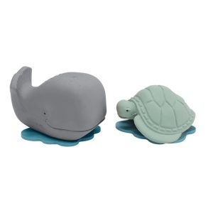 Hevea natural rubber Ingolf grey whale Dagmar turtle gift set bath toy