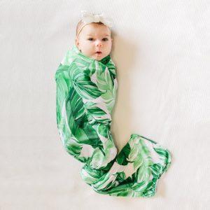 Mod & Tod Baby Stretchy Swaddle Wrap Organic Cotton - Banana Palm