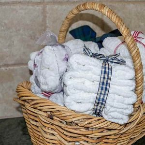 Gwamma cotton muslin washcloth baby wipe in basket