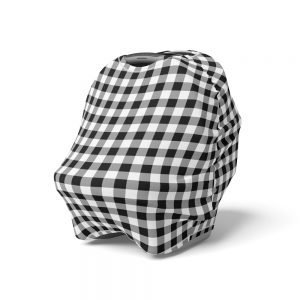 Mod & Tod 5 in 1 Multi Use Cover - Black Gingham - Capsule Cover, Highchair Cover, Shopping Trolley Cover, Breastfeeding Cover, Nursing Scarf