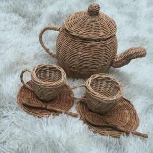 mama bear natural rattan tea set