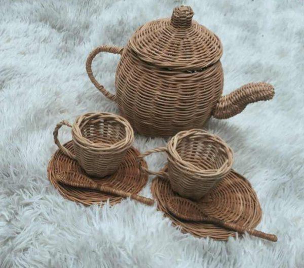 mama bear natural rattan tea set