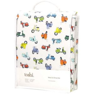 Toshi cotton cot sheet set scooters