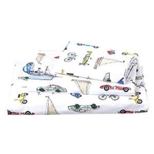 toshi cotton cot sheet set retro odyssey bike plane boat car